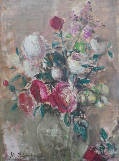 """Stanislaw Chlebowski, """"Róże w wazonie"""", olej"""