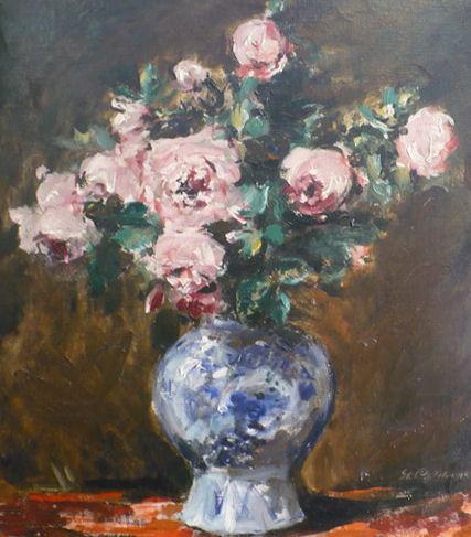 """Stanislaw Chlebowski, """"Róże w szkle"""", olej"""