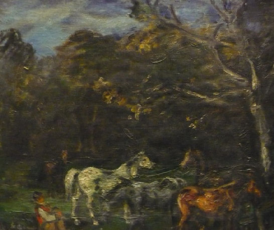 """Stanislaw Chlebowski,1951, """"Konie"""", olej"""