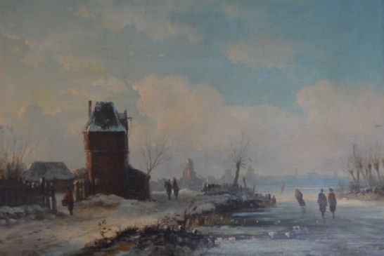 "Eduard Hildebrandt, ""Holenderski pejzaż zimowy"" 1851 r., olej"