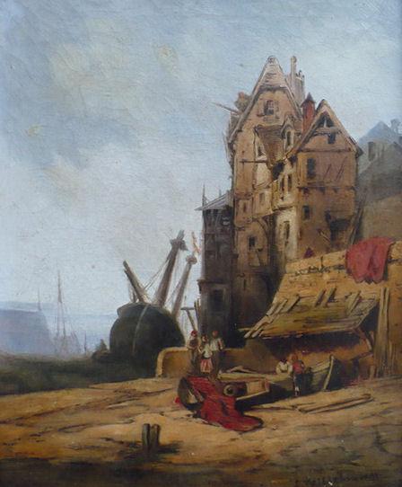 """Eduard Hildebrandt """"Wrak na brzegu"""", olej"""
