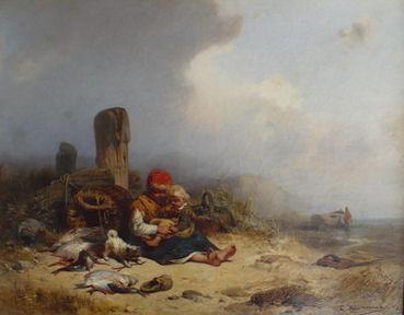 """Eduard Hildebrandt """"Dzieci z kotem na plaży""""1845, olej"""