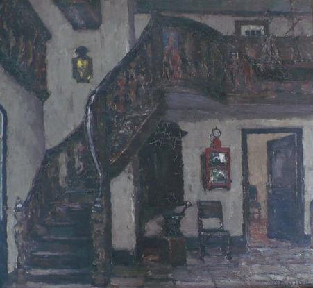 """Ernst Kolbe, olej, """"Stare schody"""". (dom Uphagena w Gdańsku)"""