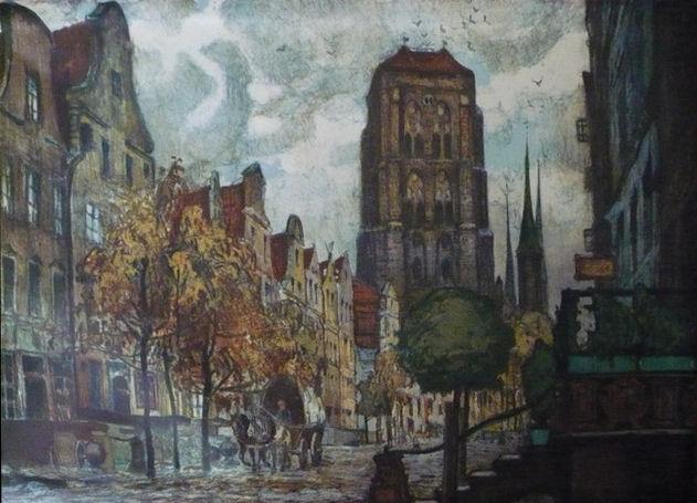 "Ernst Kolbe, Litografia, "" Ulica Piwna"""