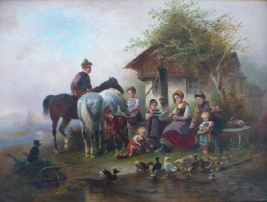 """Wilhelm Eduard Meyerheim """" Karmienie kaczek"""", olej"""