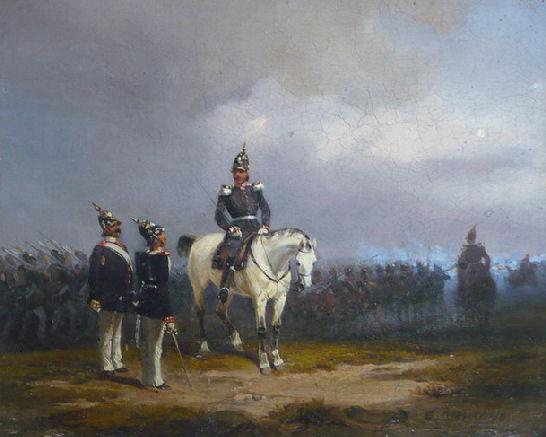 """Wilhelm Eduard Meyerheim """"Przekazanie meldunku"""", 1842 r. , olej"""