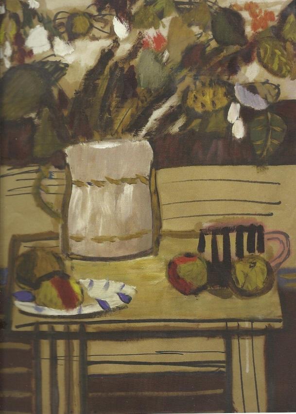 Artur Nacht-Samborski, Martwa natura z wazonem na stole, ok.1958 r. olej, papier