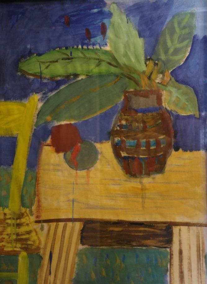 Artur Nacht-Samborski, Dzban z liśćmi na stole, ok. 1970 r. olej, gwasz, papier